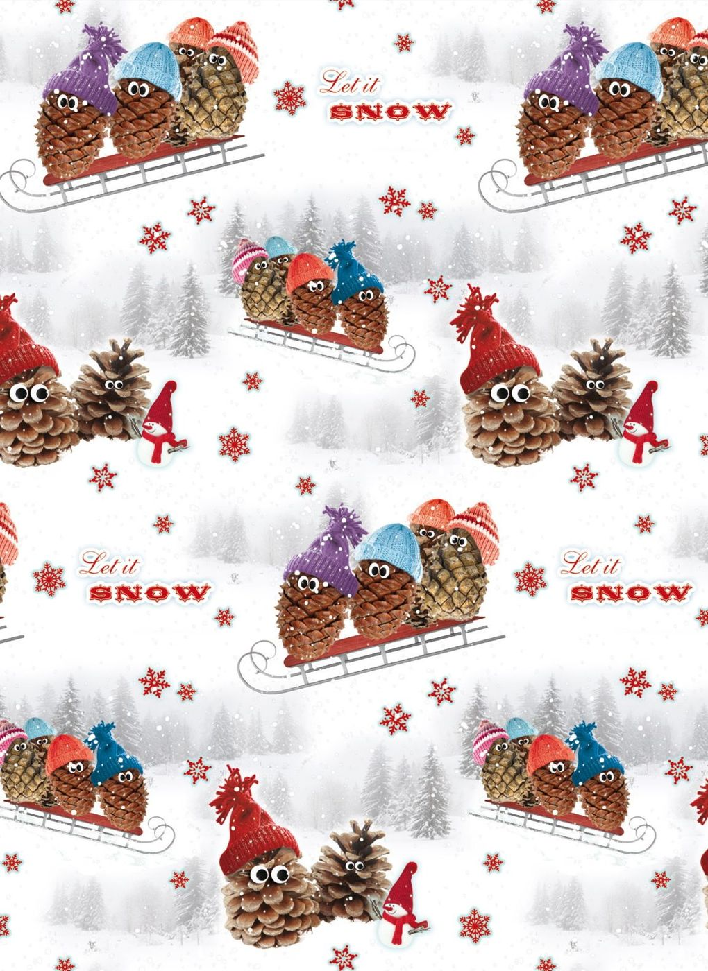 geschenkpapier weihnachten pine cone snowmen ebay. Black Bedroom Furniture Sets. Home Design Ideas